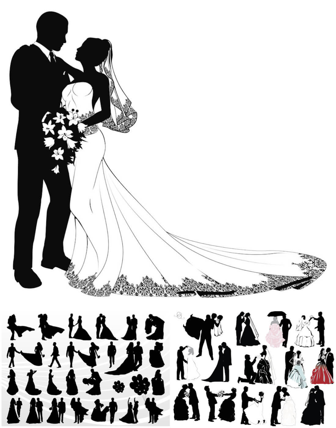 1100x1400 Wedding Couple Silhouettes Vector 2018 Free Download