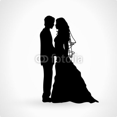 400x400 Bride And Groom Wedding Couple Vector Silhouette (76511214