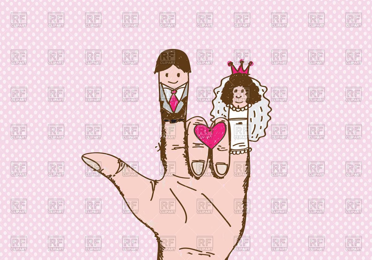 1200x837 Cartoon Hand Drawn Hand With Wedding Couple Vector Image Vector