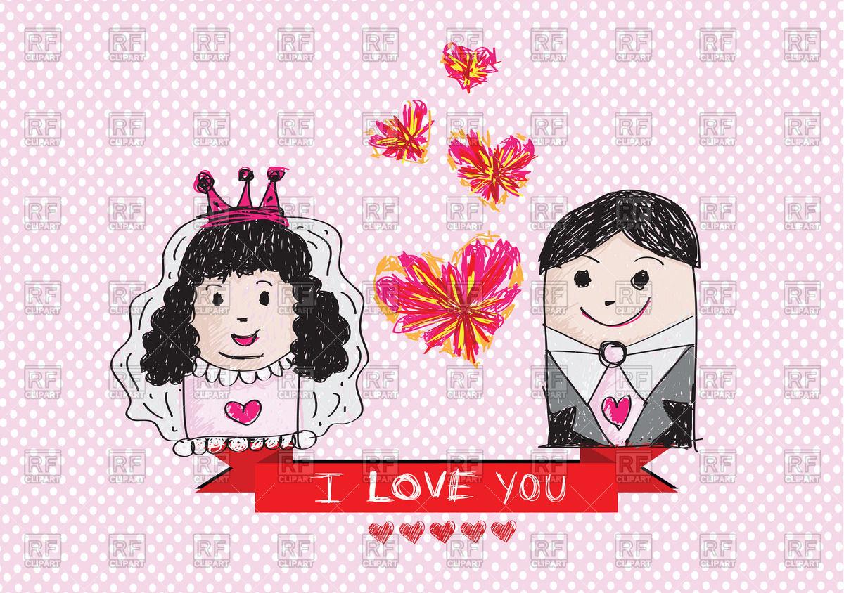 1200x844 Cartoon Hand Drawn Wedding Couple Vector Image Vector Artwork Of
