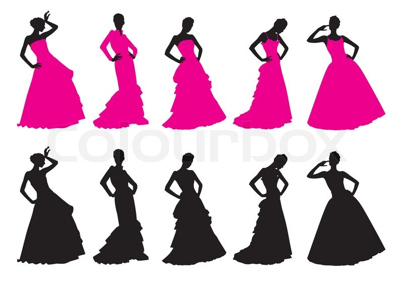 800x566 Silhouettes Of Girls In Wedding Dresses Stock Vector Colourbox
