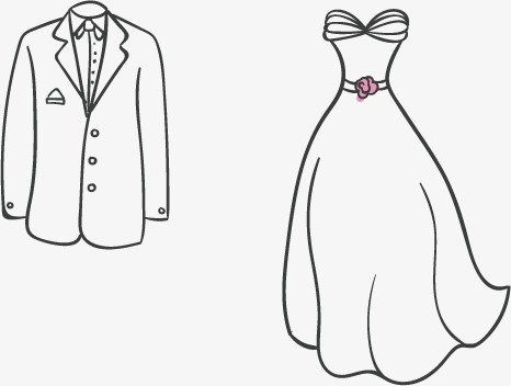 466x352 Vector Hand Drawn Graph Wedding Dress, Wedding Vector, Dress