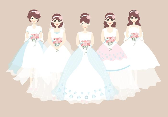 700x490 Bride And Bridesmaid Dress Vector