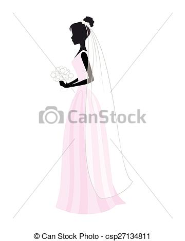 360x470 Bride In Wedding Dress. Vector Illustration Image Of A Bride In
