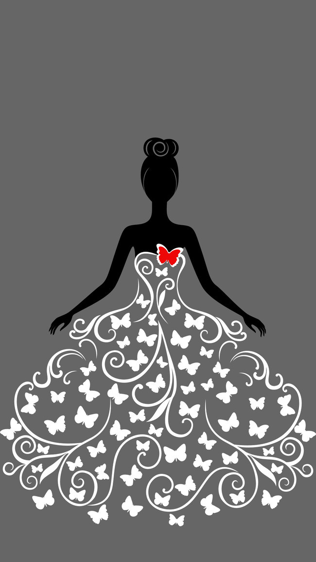 650x1155 H5 Wedding Vector Background Material, Wedding Dress, Vector, H5