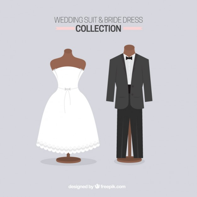 626x626 Cute Wedding Suit And Bride Dress Vector Free Download
