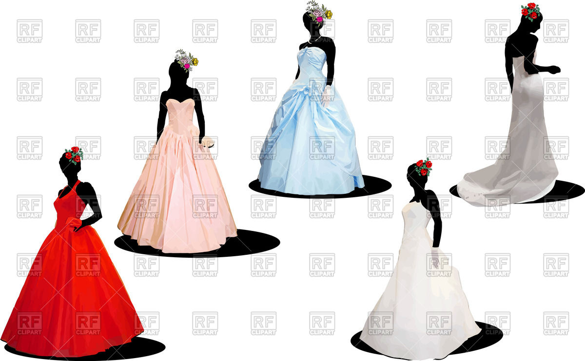 1200x741 Silhouettes Of Brides In Wedding Dresses Vector Image Vector