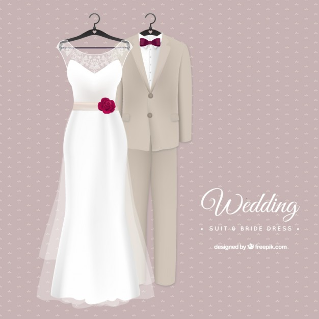 626x626 Stylish Wedding Suit And Bride Dress Vector Free Download