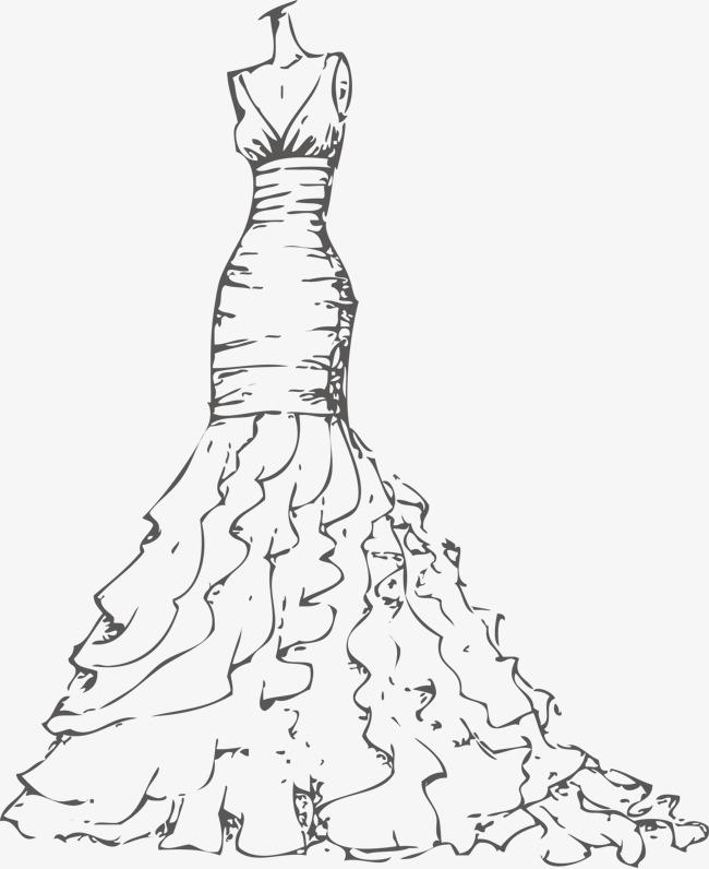 650x796 Vector Wave Wedding Dress Gown, Wave Vector, Wedding Vector, Dress