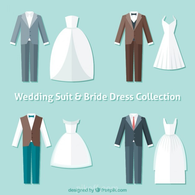 626x626 Ai] Flat Wedding Suits And Bride Dresses Vector Free Download