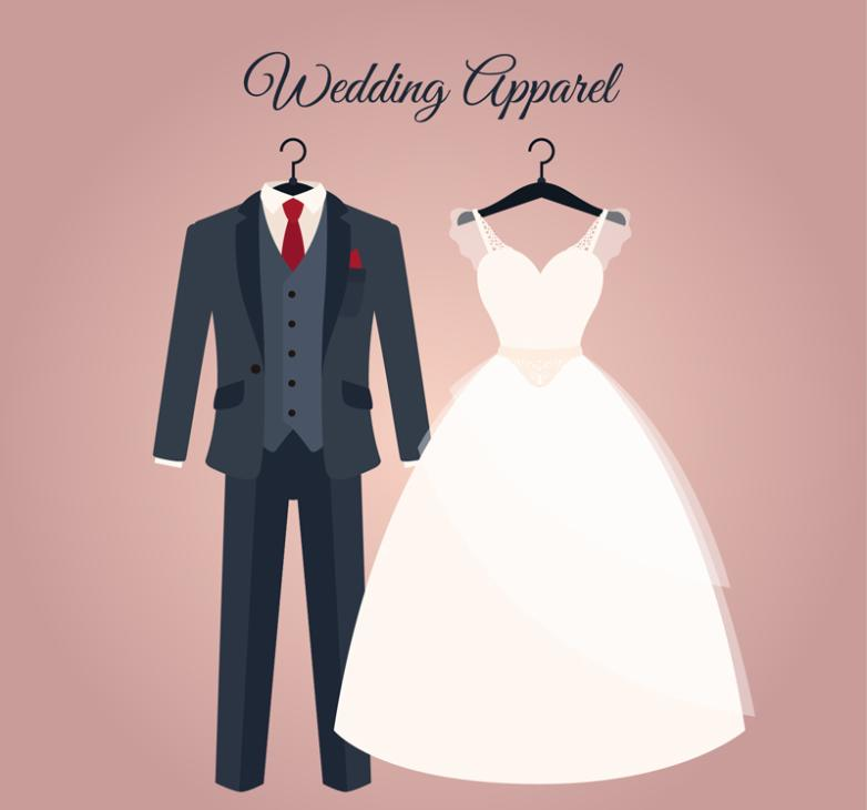 782x730 Cartoon Wedding Suits And Dress Vector Free Vector Graphic Download