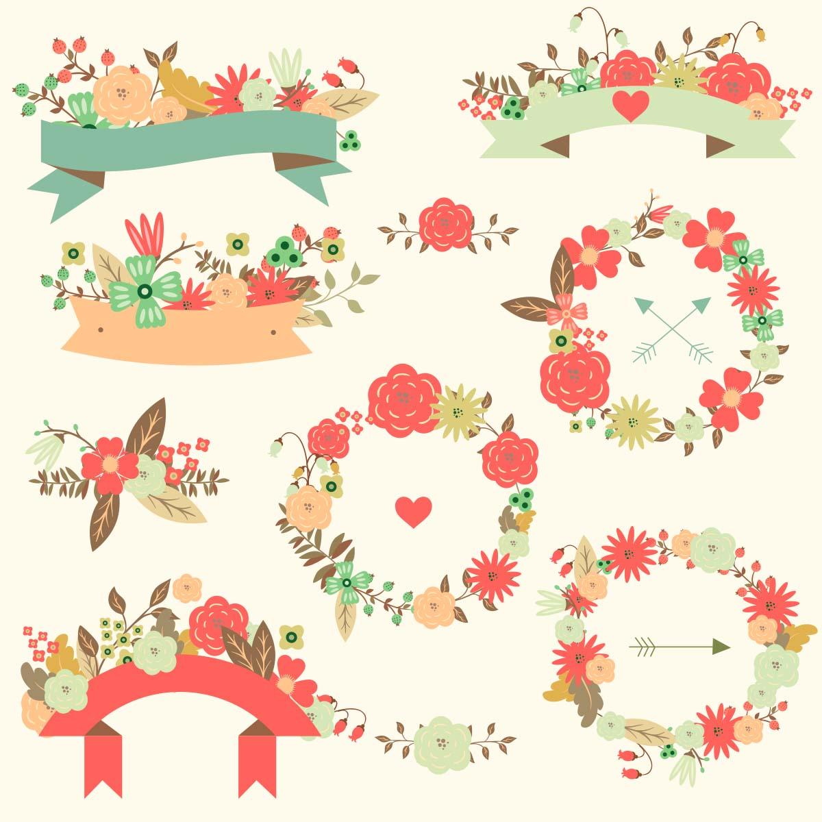 1200x1200 Floral Vector Wedding Ribbon Pattern Set Free Download