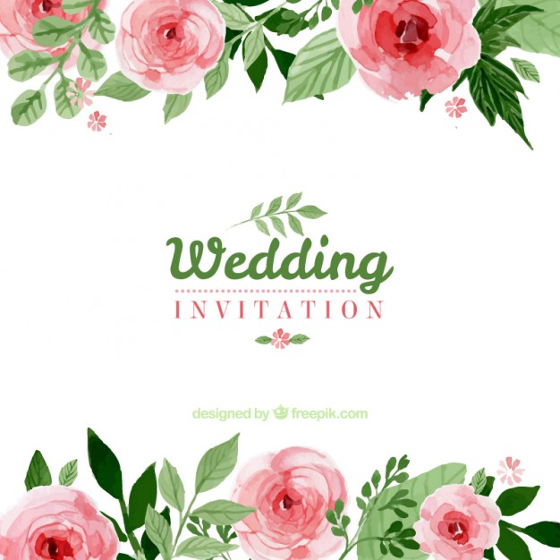 626x626 Floral Wedding Invitation Vector Free Download