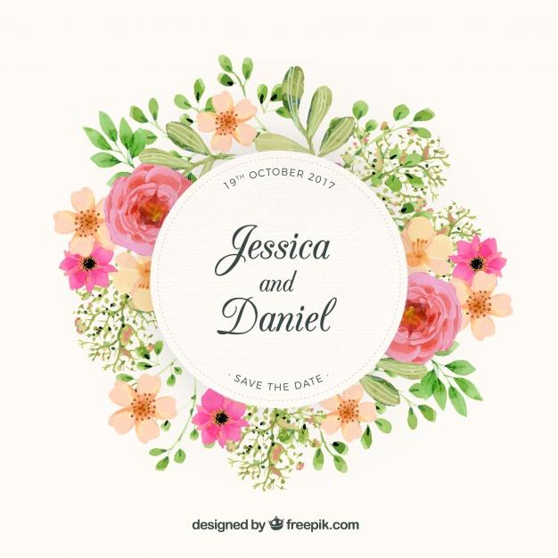 626x626 Floral Wreath Wedding Design Vector Free Download