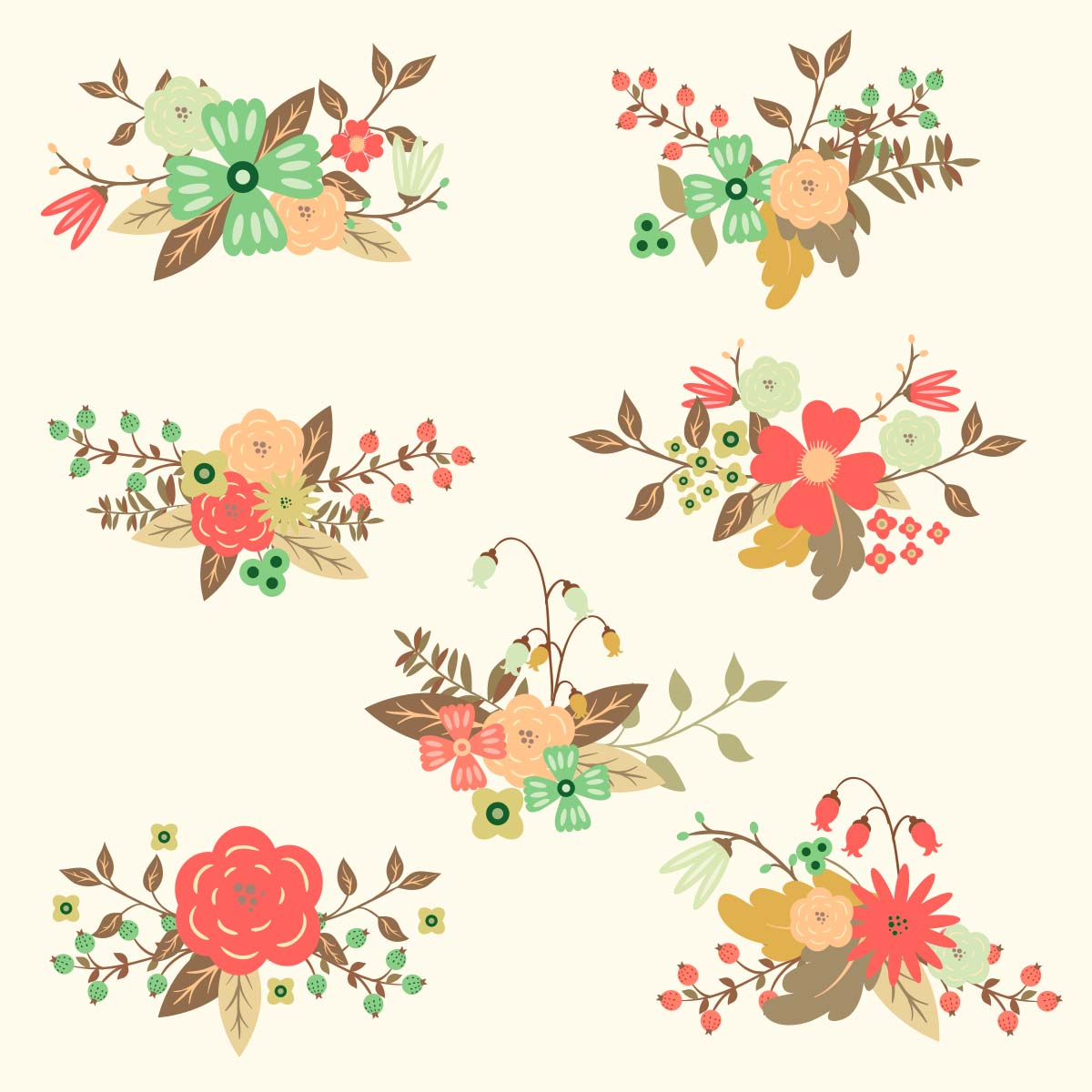 1200x1200 Free Vector Floral Hand Drawn Set Free Download