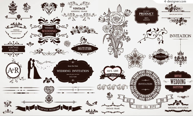 800x481 4 Designer Retro Style Wedding Floral Design Vector Material