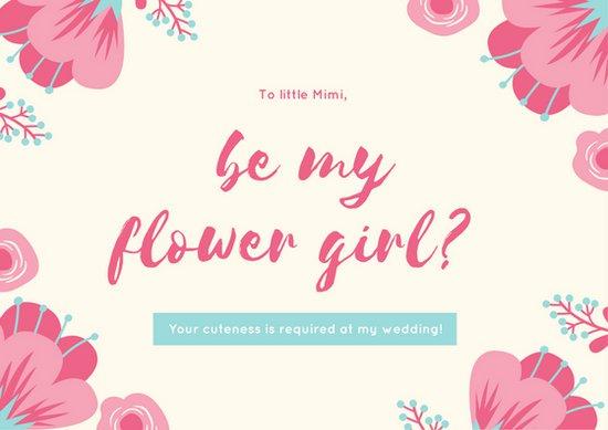 550x389 Pink Floral Vector Flower Girl Wedding Card
