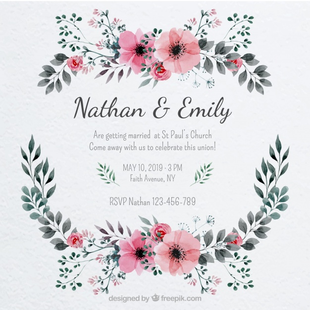 626x626 Pretty Wedding Invitation With A Floral Frame Vector Free Download