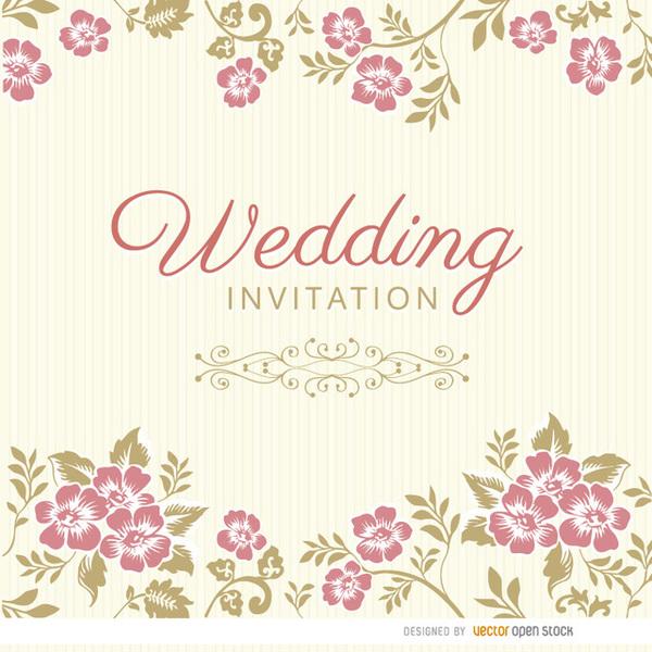 600x600 Blue Floral Invitation Card Free Vector 123freevectors