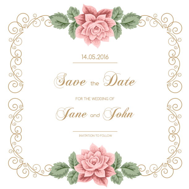 612x611 Vintage Flower With Wedding Invitation Vector 04 Free Download