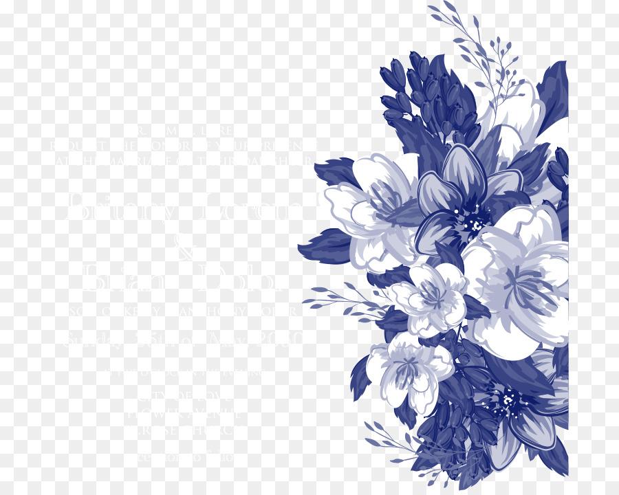 900x720 Wedding Invitation Floral Design Blue Flower