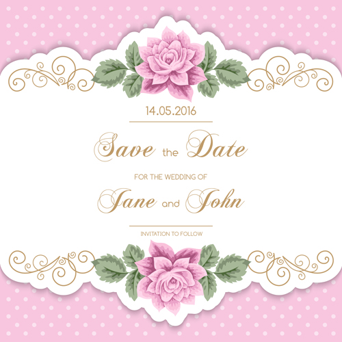 500x500 Wedding Invitetion Card With Pink Flower Vector Free Download