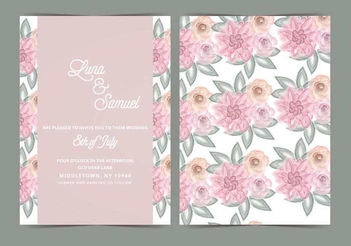 700x490 Blush Floral Vector Wedding Invite