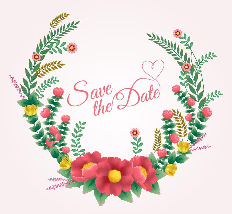 800x738 Color Wedding Flowers Vector [Ai]