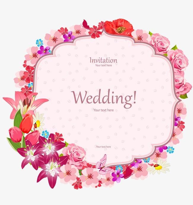 650x692 Elegant Floral Border Wedding Invitation Card Vector Material