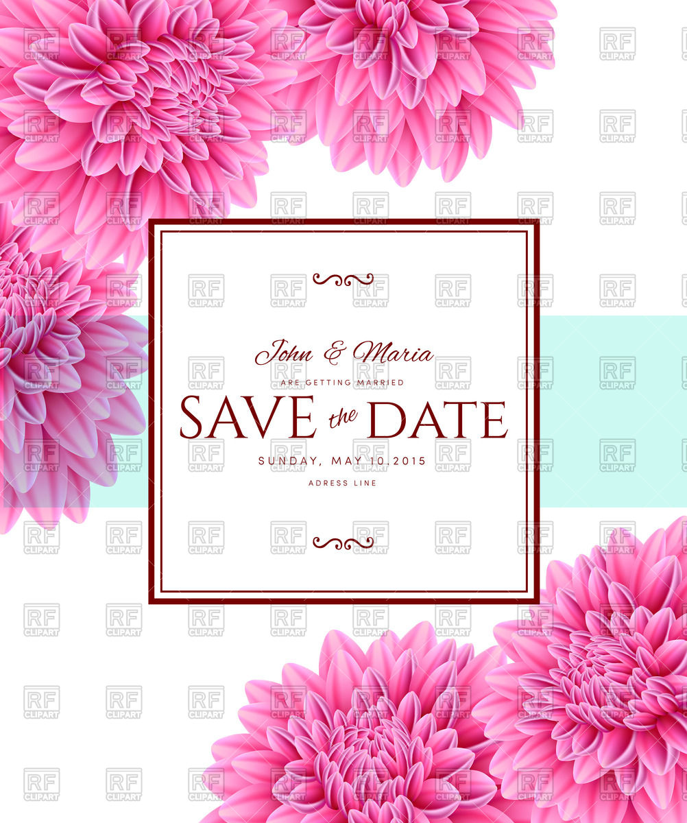 1002x1200 Save The Date Wedding Card With Aster Flowers Vector Image