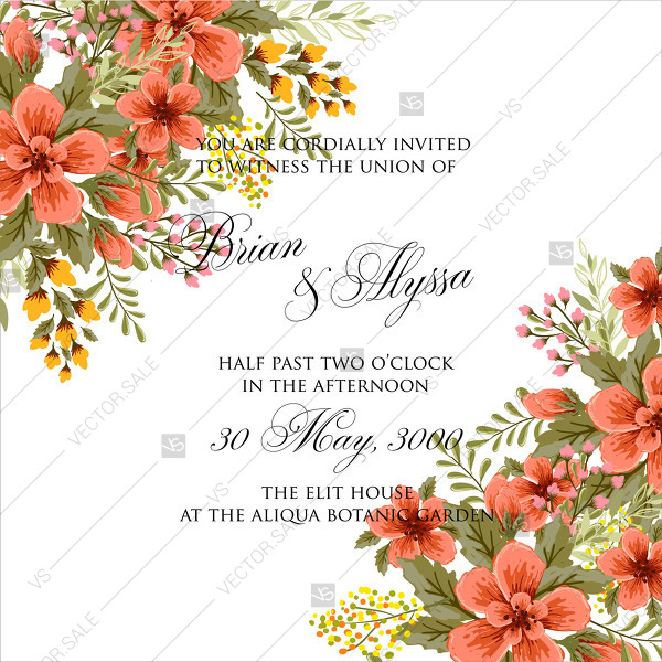 600x600 Spring Flower Vector Wedding Invitation Template Marriage