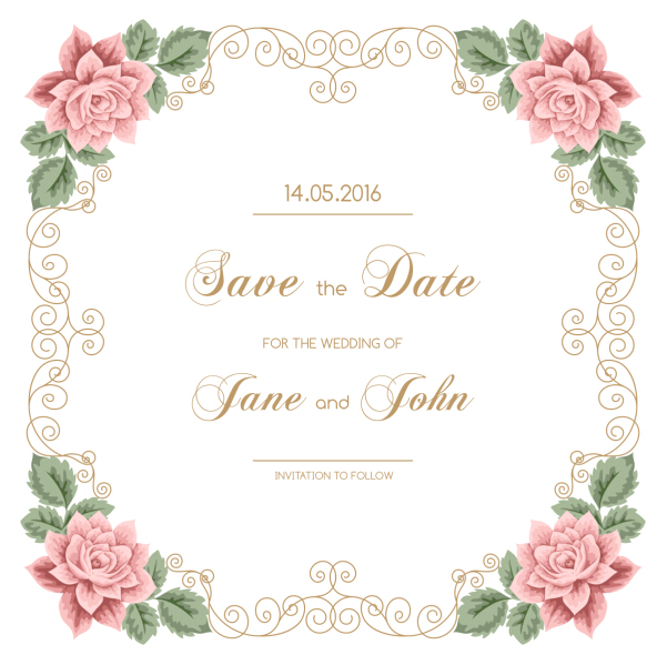 601x599 Vintage Flower With Wedding Invitation Vector 05 Free Download