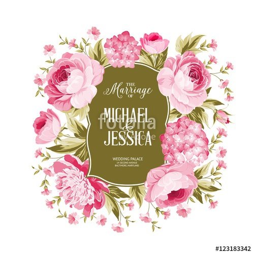 500x500 Wedding Card With Blooming Flowers Isolated Over White Background