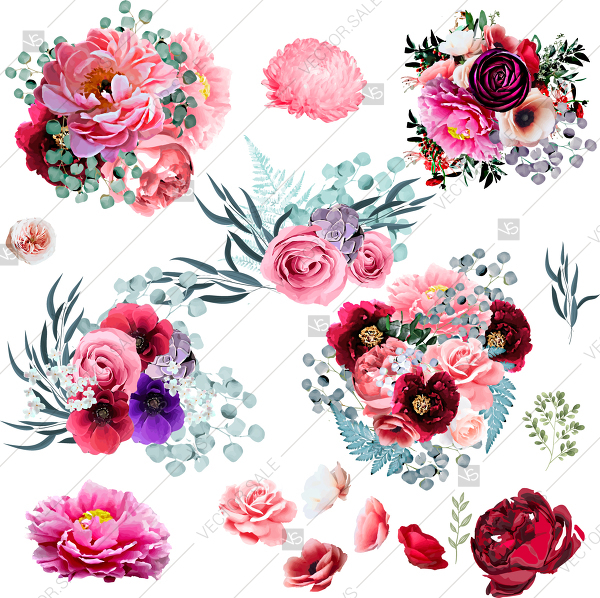 600x598 Wedding Invitation Vector Template With Watercolor Peony Rose
