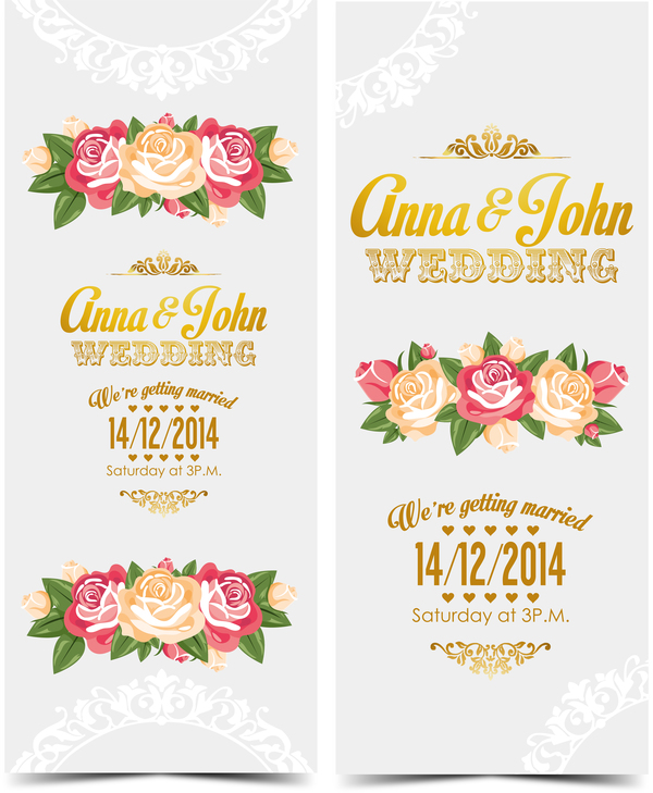 600x729 Wedding Invitation Vertical Card With Flower Vector 07