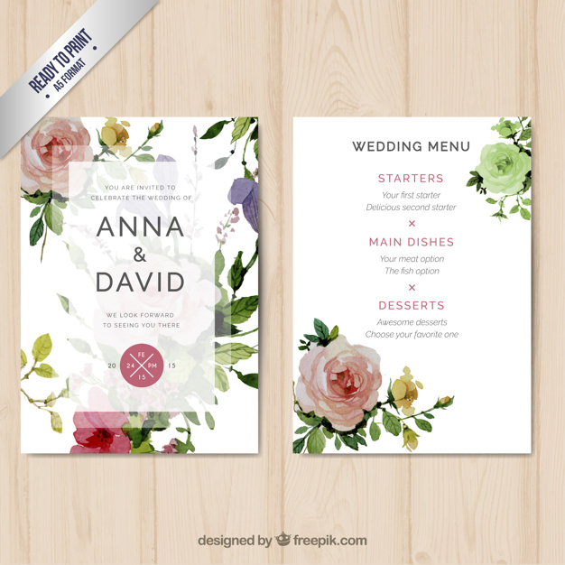 626x626 Wedding Menu With Watercolor Flowers Vector Free Download