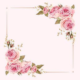 260x260 Vector Watercolor Painted Pink Wedding Flowers Border Background