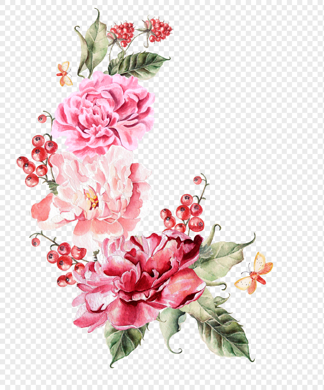 1265x1520 Colorful Watercolor Wedding Flowers Vector Material Png