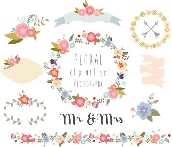 570x489 Floral Clipart, Wedding Clipart,vector + Png Digital Wreath