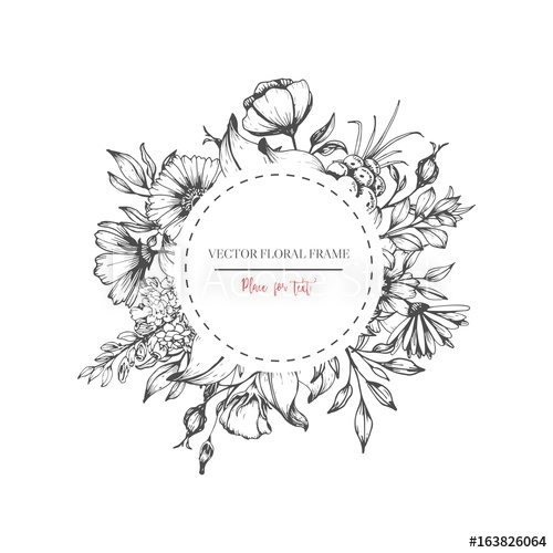 500x500 Hand Drawn Flower Round Frame. Vector Floral Wedding Design In