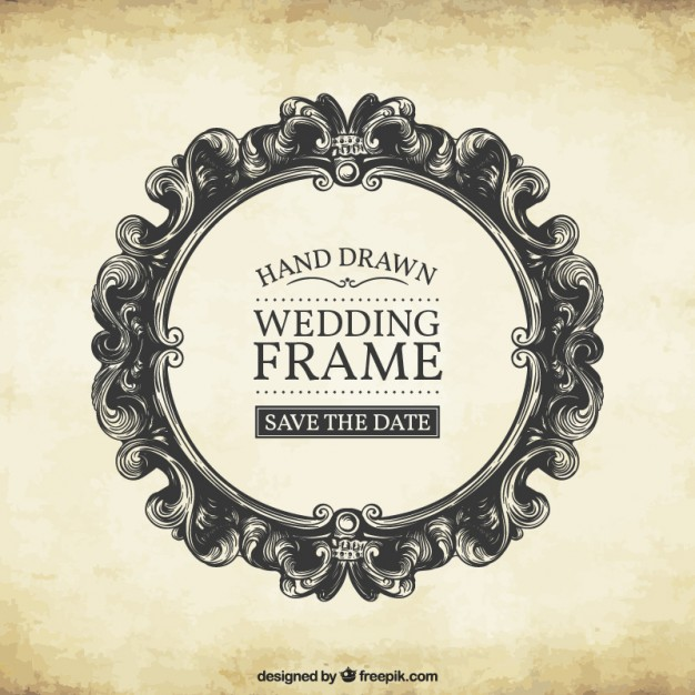 626x626 Hand Drawn Wedding Frame Vector Free Download