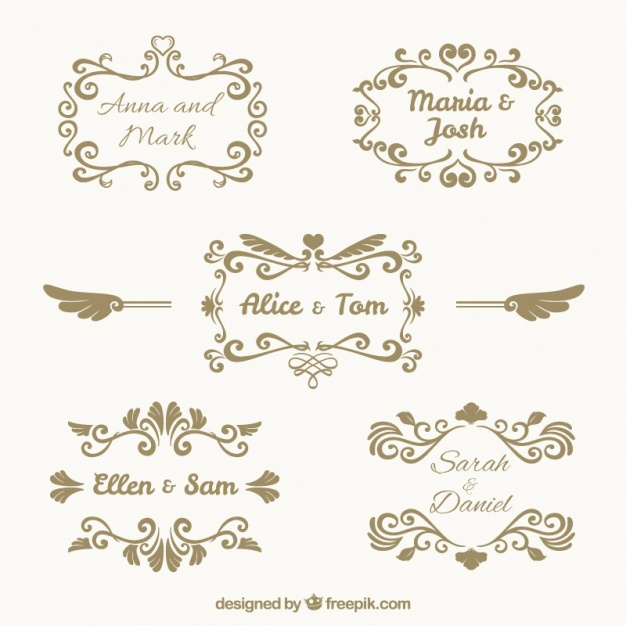 626x626 Pack Of Five Vintage Wedding Frames Vector Free Download