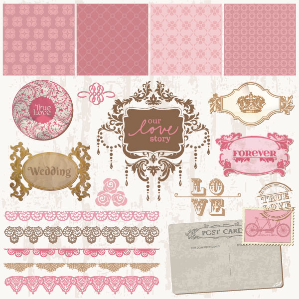 600x600 Vector Art Vintage Decorative Wedding Frames And Ornaments