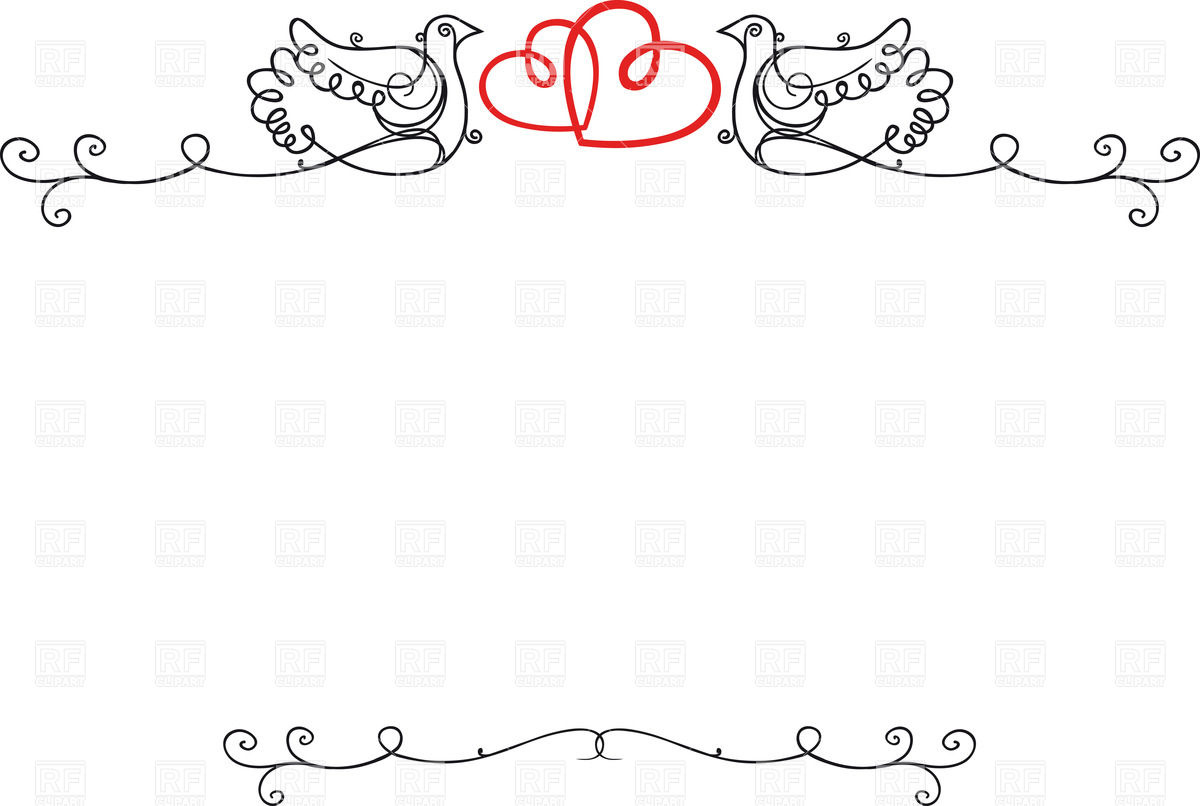 1200x806 Vintage Wedding Frame With Doves, Hearts And Blank Space For Text