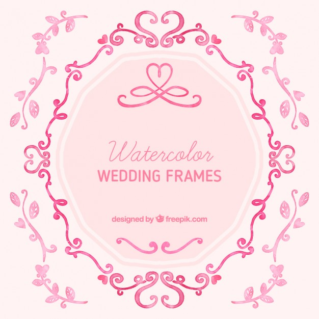 626x626 Watercolor Wedding Frames Vector Free Download