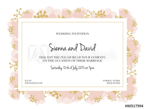 500x375 Wedding Invitation Card With Pink Flower Frame. Vector Design