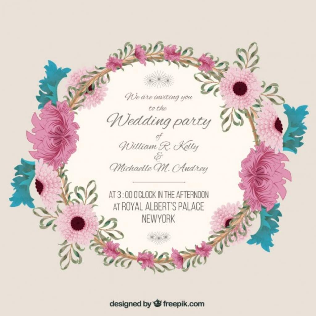 1024x1024 Wedding Invitation With Floral Frame Vector Free Download With