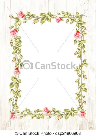 332x470 Wedding Flower Frame. Wedding Flower Frame With Flowers Over White