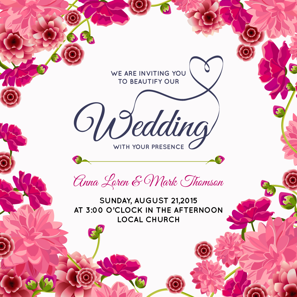 1000x1000 Wedding Frame For Invitation In Pink Color Vector Free Download