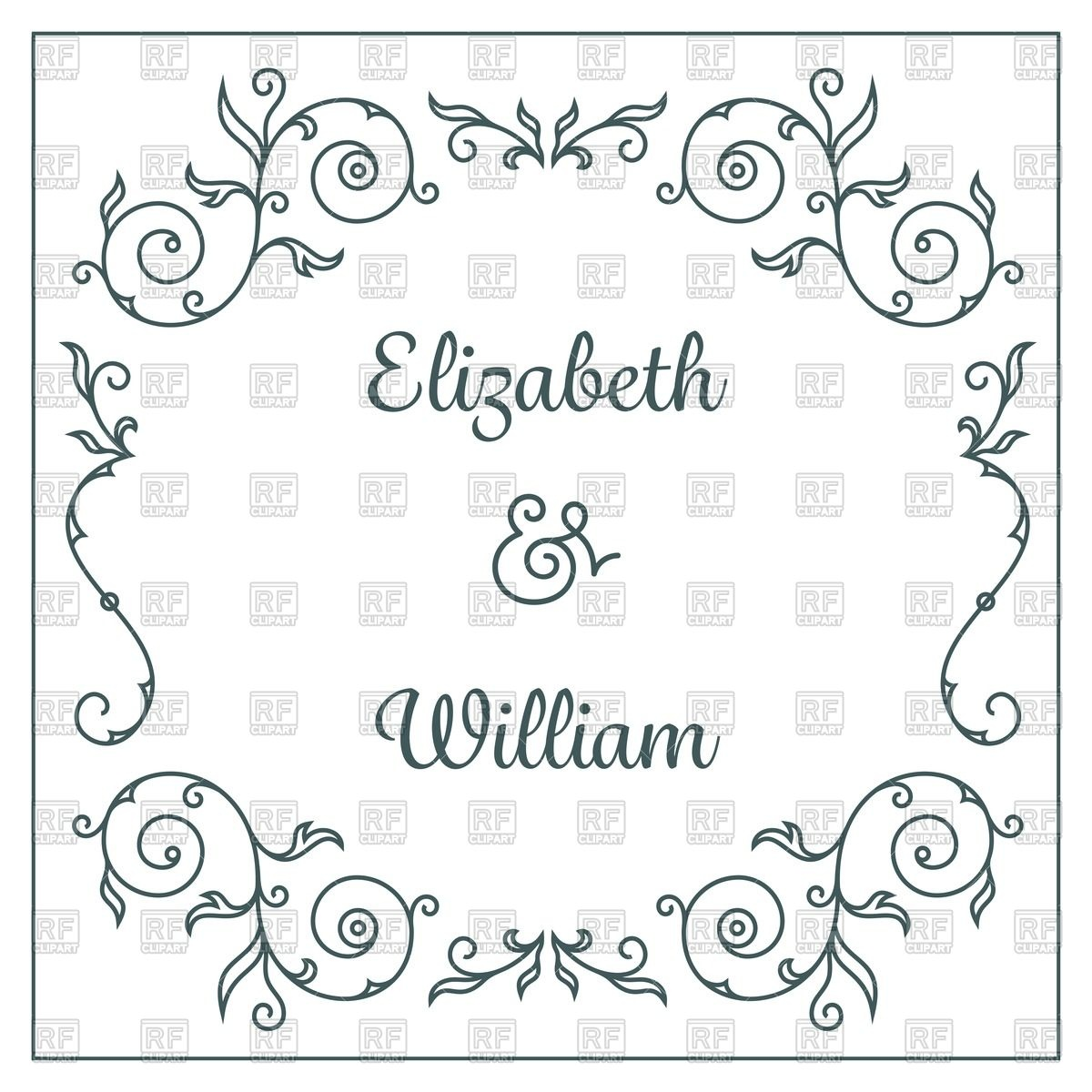1200x1200 Wedding Invitation Card Template With Floral Frame Vector Image